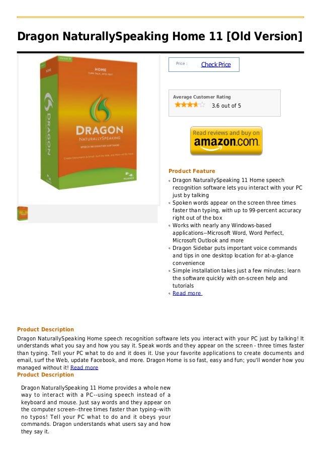 Dragon NaturallySpeaking Home 11 [Old Version]                                                              Price :       ...