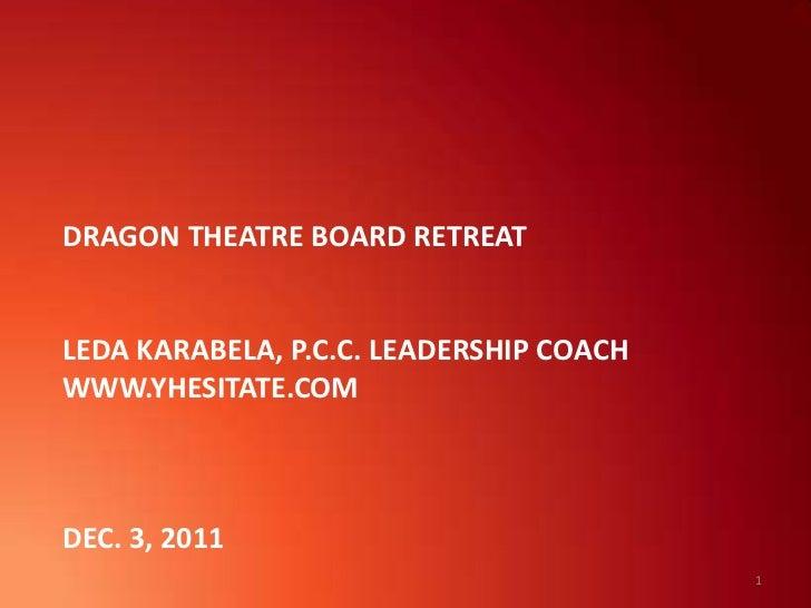DRAGON THEATRE BOARD RETREATLEDA KARABELA, P.C.C. LEADERSHIP COACHWWW.YHESITATE.COMDEC. 3, 2011                           ...