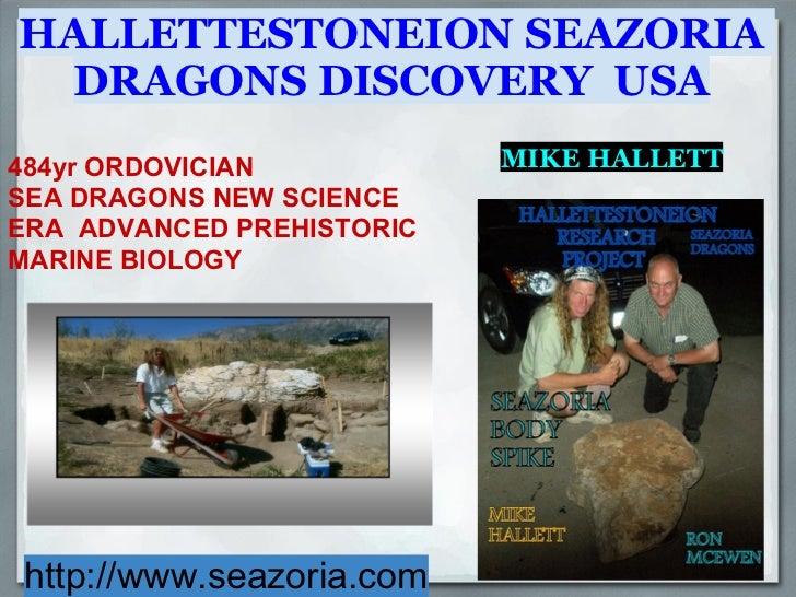 HALLETTESTONEION SEAZORIA DRAGONS DISCOVERY USA484yr ORDOVICIAN           MIKE HALLETTSEA DRAGONS NEW SCIENCEERA ADVANCED ...