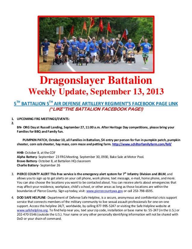 Dragonslayer Battalion Weekly Update, September 13, 2013 5TH BATTALION 5TH AIR DEFENSE ARTILLERY REGIMENT'S FACEBOOK PAGE ...