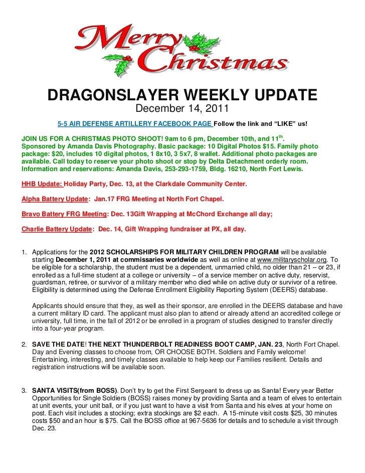 DRAGONSLAYER WEEKLY UPDATE                                        December 14, 2011            5-5 AIR DEFENSE ARTILLERY F...