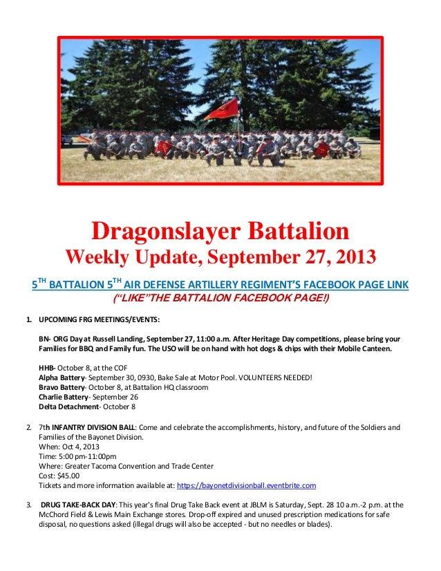 Dragonslayer Battalion Weekly Update, September 27, 2013 5TH BATTALION 5TH AIR DEFENSE ARTILLERY REGIMENT'S FACEBOOK PAGE ...