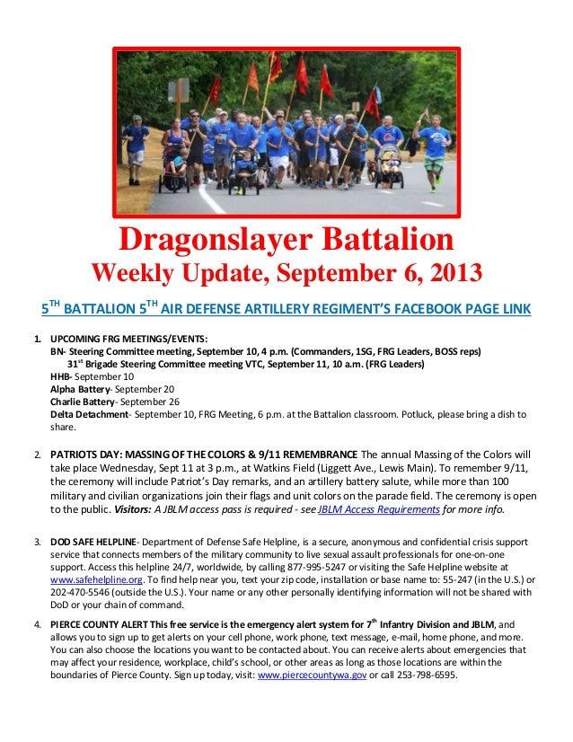 Dragonslayer Battalion Weekly Update, September 6, 2013 5TH BATTALION 5TH AIR DEFENSE ARTILLERY REGIMENT'S FACEBOOK PAGE L...