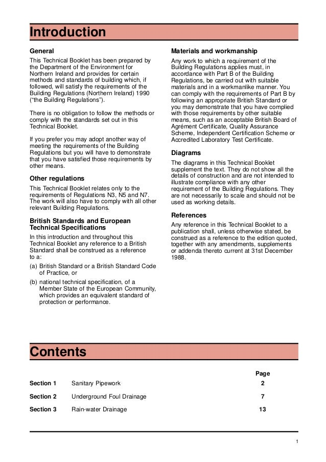 1 General This Technical Booklet has been prepared by the Department of the Environment for Northern Ireland and provides ...