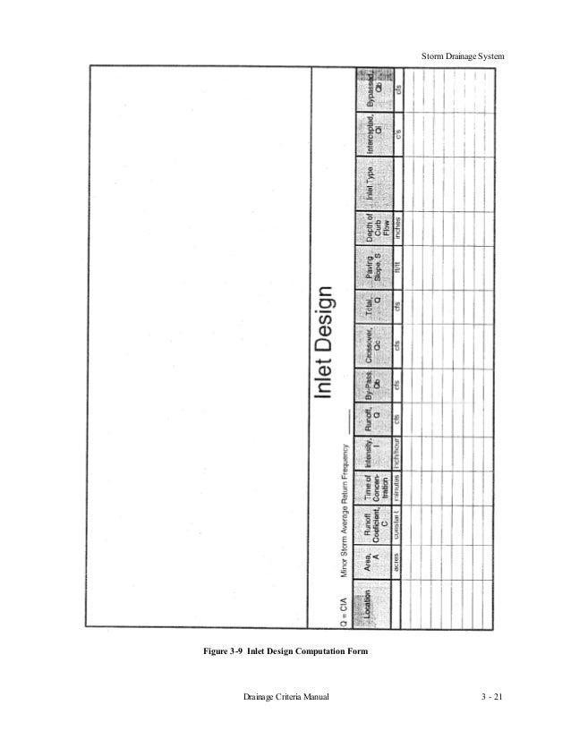 Storm Drainage System3 - 21Drainage Criteria ManualFigure 3-9 Inlet Design Computation Form