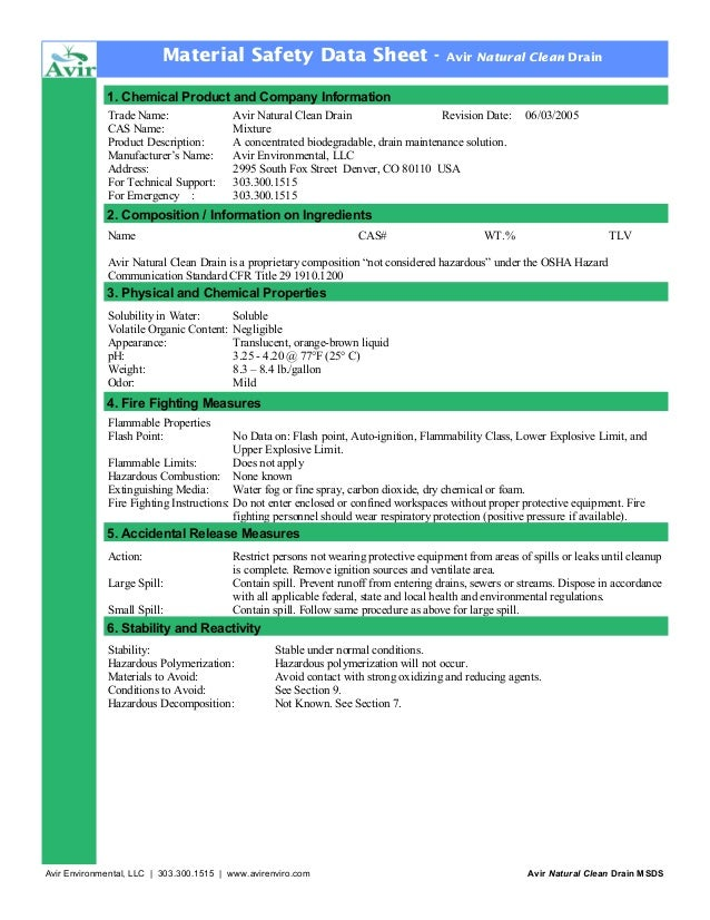 Drain cleaner msds
