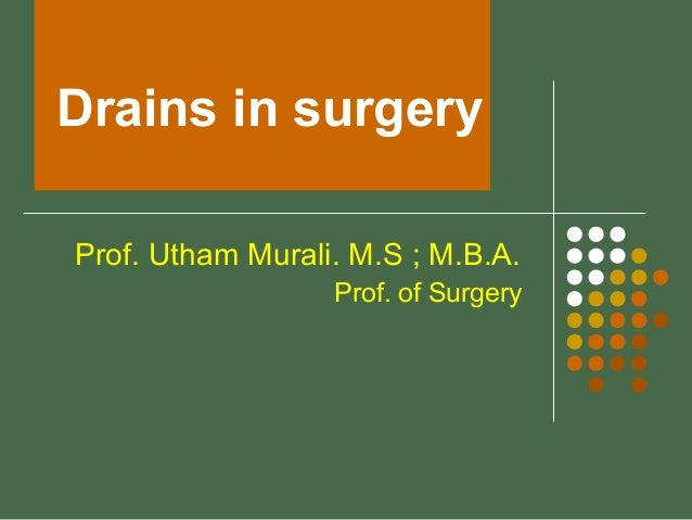 Drains in surgery Prof. Utham Murali. M.S ; M.B.A. Prof. of Surgery