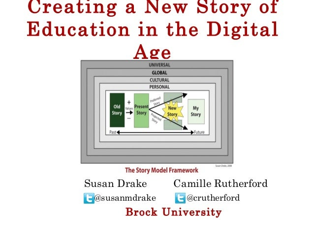 Creating a New Story of Education in the Digital Age @susanmdrake @crutherford Brock University Susan Drake Camille Ruther...