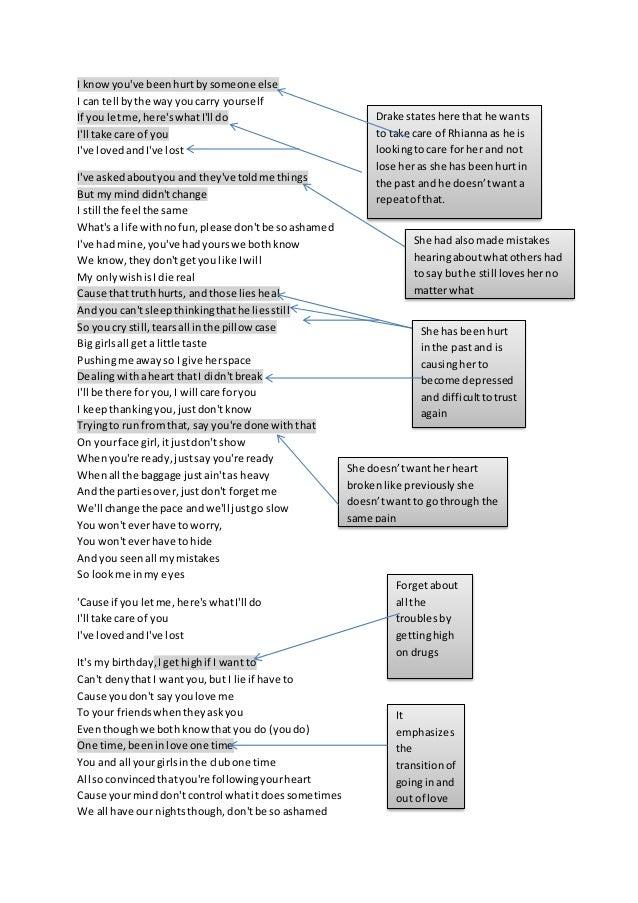 Drake Take Care Lyrics Analysis