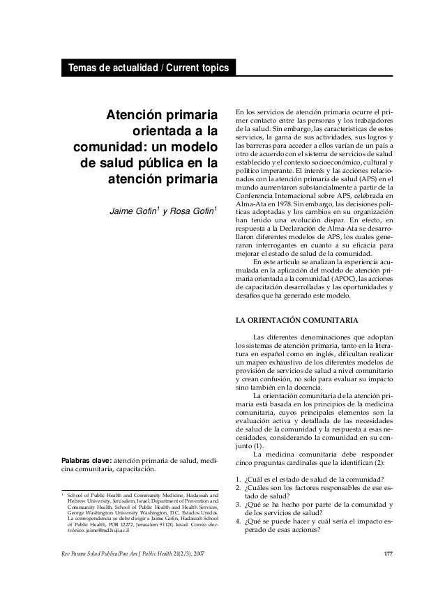 Rev Panam Salud Publica/Pan Am J Public Health 21(2/3), 2007 177 Temas de actualidad / Current topics Atención primaria or...