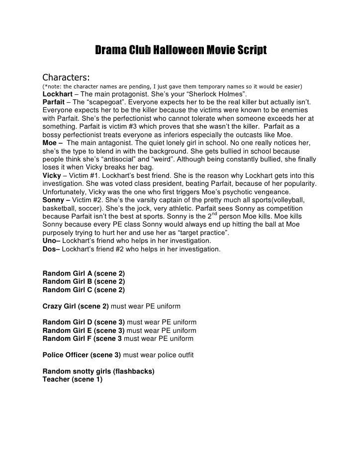 drama club halloween movie script
