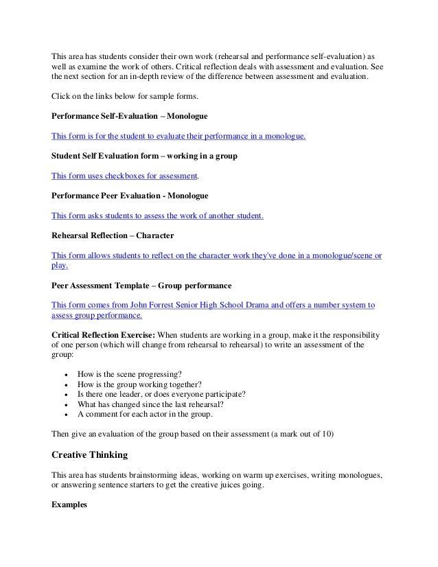 Drama journal – Group Self Evaluation Form
