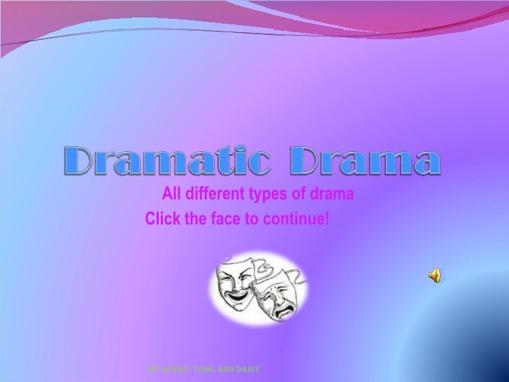 All different types of drama Click the face to continue!  By Avery, Tess, and Daisy