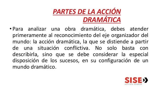 PARTES DE LA ACCIÓN DRAMÁTICA •Para analizar una obra dramática, debes atender primeramente al reconocimiento del eje orga...