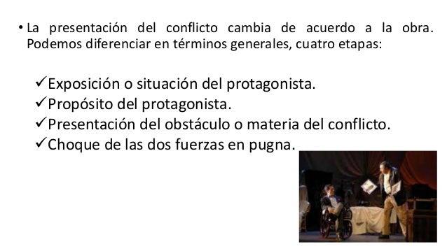 • La presentación del conflicto cambia de acuerdo a la obra. Podemos diferenciar en términos generales, cuatro etapas: Ex...