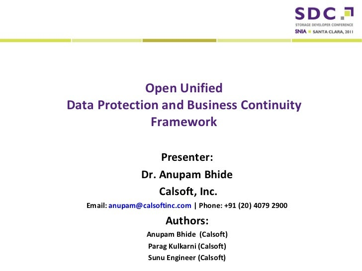 Open Unified                  Data Protection and Business Continuity                                Framework            ...