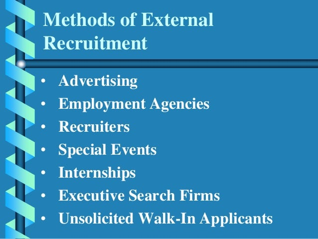external recruitment methods Samonte, sia macapugay, lee dela cruz, alex rosales, kevin cordero, luis caube, kevin internal and external methods of recruitment f recruitment stages job analysis - a primary tool in personnel management.