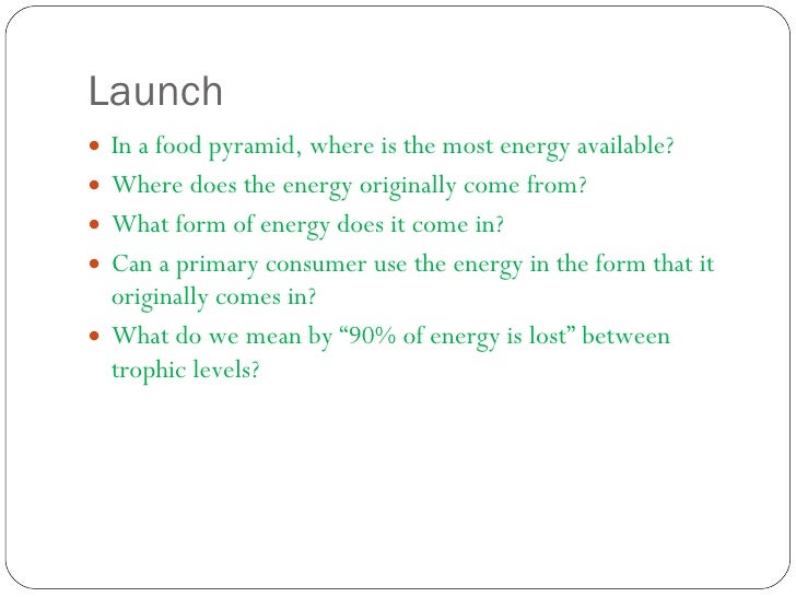 Launch  <ul><li>In a food pyramid, where is the most energy available? </li></ul><ul><li>Where does the energy originally ...