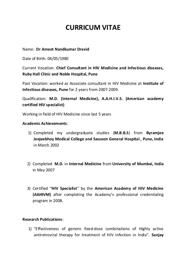 Dr. Ameet Dravid CV