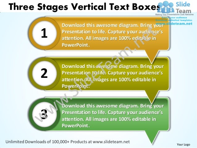 Three Stages Vertical Text Boxes           Download this awesome diagram. Bring your      1    Presentation to life. Captu...