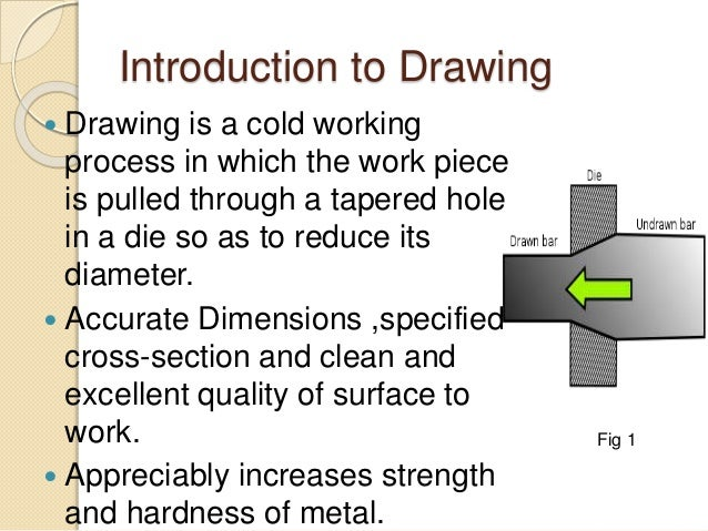 Introduction to Drawing  Drawing is a cold working process in which the work piece is pulled through a tapered hole in a ...