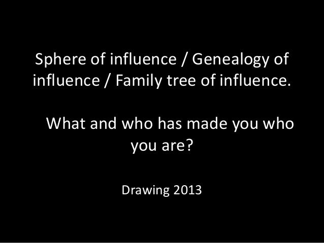 Sphere of influence / Genealogy ofinfluence / Family tree of influence. What and who has made you who           you are?  ...