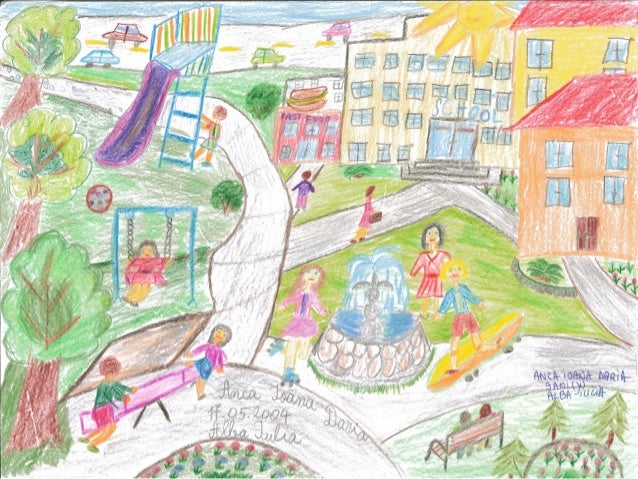 "Samples of URBACT Children Drawing Contest ""Draw Your Ideal City"""