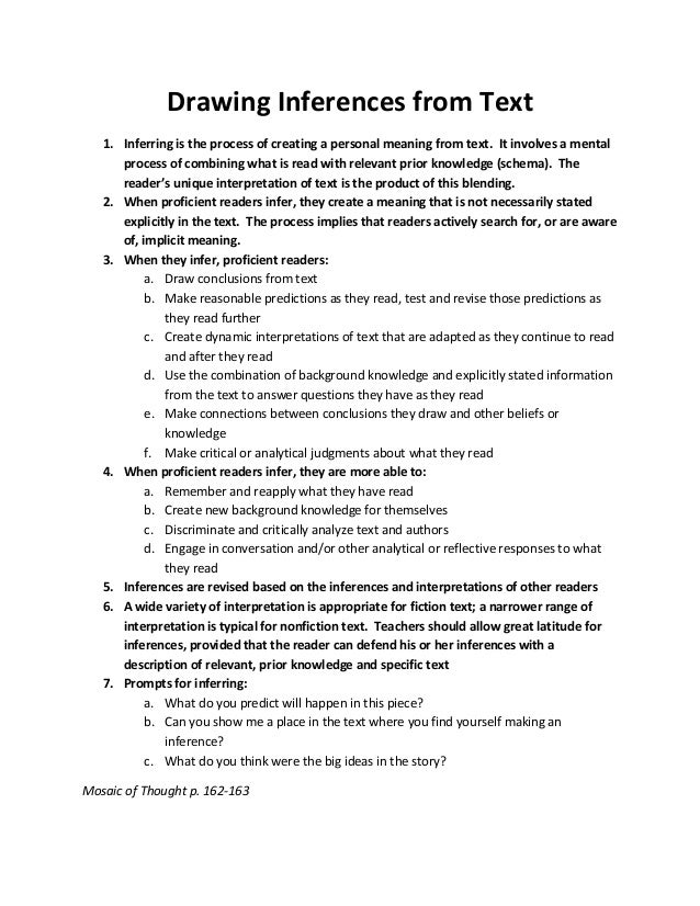 Drawing Inferences from Text 1. Inferring is the process of creating a personal meaning from text. It involves a mental pr...