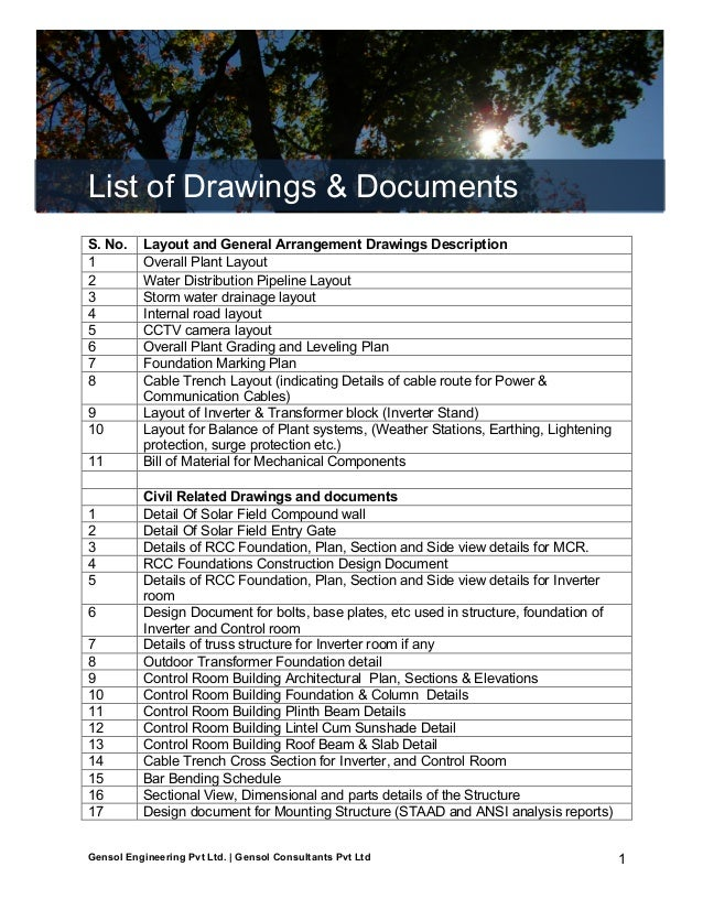 Gensol: List of Drawings & Documents  List of Drawings & Documents S. No. 1 2 3 4 5 6 7 8 9 10 11  1 2 3 4 5 6 7 8 9 10 11...