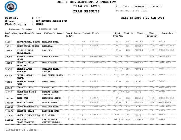 DELHI DEVELOPMENT AUTHORITY                                                  DRAW OF LOTS         Run Date : 18-APR-2011  ...