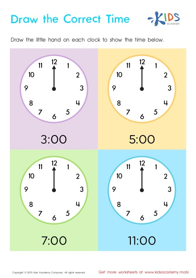 Draw the Correct Time - Kindergarten Math Worksheets