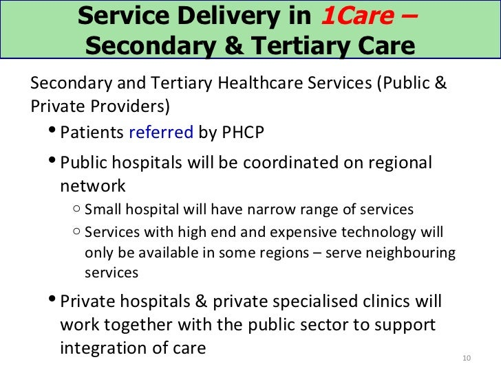 Service Delivery in 1Care –      Secondary & Tertiary CareSecondary and Tertiary Healthcare Services (Public &Private Prov...