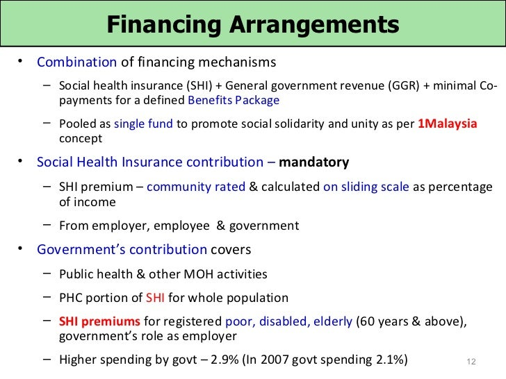 Financing Arrangements• Combination of financing mechanisms   – Social health insurance (SHI) + General government revenue...