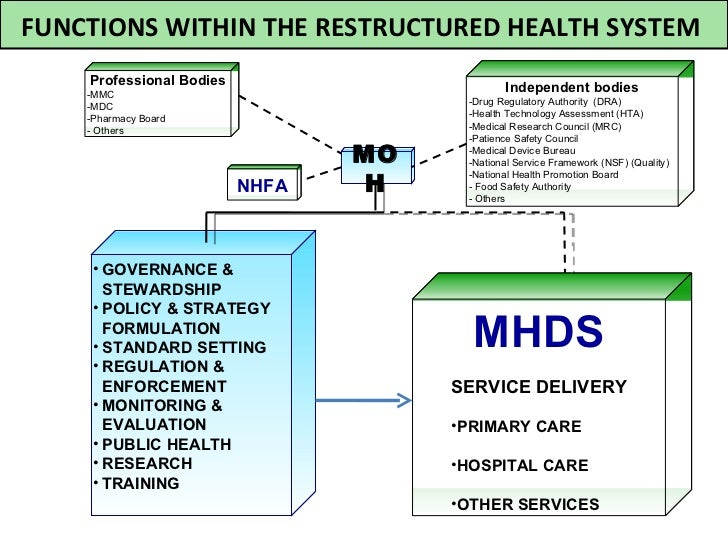 FUNCTIONS WITHIN THE RESTRUCTURED HEALTH SYSTEM    Professional Bodies    -MMC                                            ...