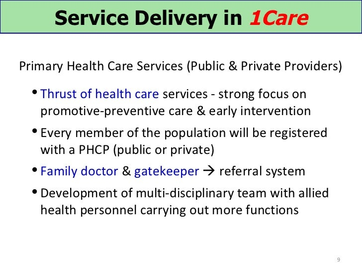 Service Delivery in 1CarePrimary Health Care Services (Public & Private Providers)   Thrust of health care services - str...