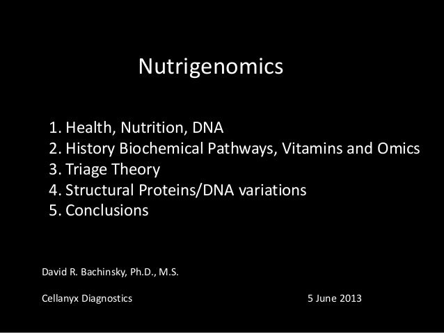 Nutrigenomics 1. Health, Nutrition, DNA 2. History Biochemical Pathways, Vitamins and Omics 3. Triage Theory 4. Structural...