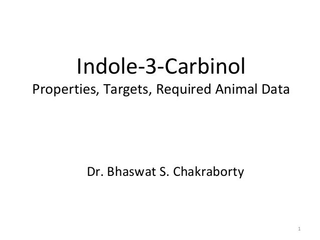 Indole-3-Carbinol  Properties, Targets, Required Animal Data  Dr. Bhaswat S. Chakraborty  1