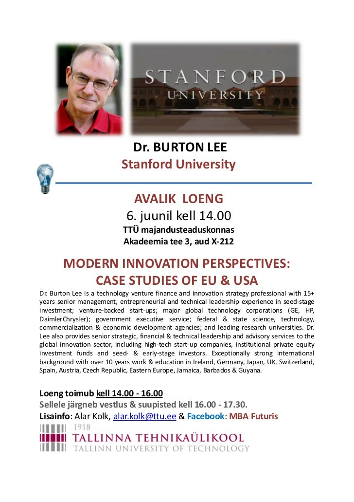 Dr. BURTON LEE                            Stanford University                               AVALIK LOENG                  ...