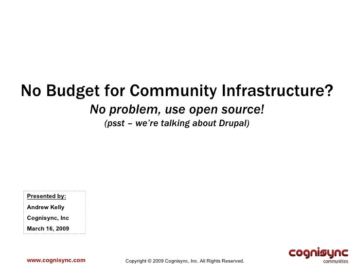 www.cognisync.com Copyright © 2009 Cognisync, Inc. All Rights Reserved. No Budget for Community Infrastructure? No problem...