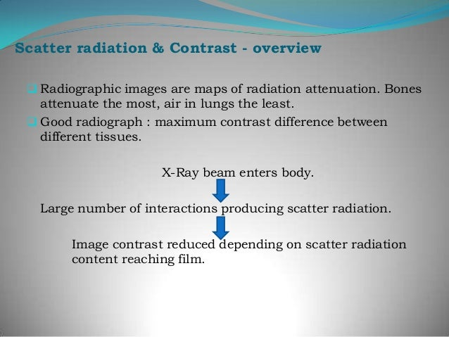 Sources of scattered radiation  Transmitted scatter    constitutes greater portion of scattered radiation and    originat...