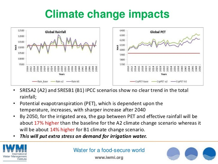 Climate change impacts• SRESA2 (A2) and SRESB1 (B1) IPCC scenarios show no clear trend in the total  rainfall;• Potential ...