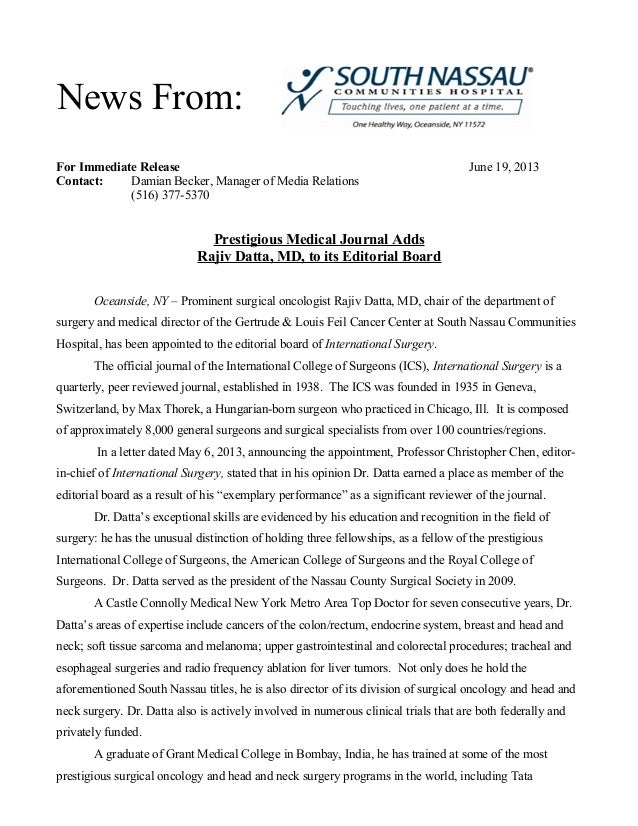 For Immediate Release June 19, 2013Contact: Damian Becker, Manager of Media Relations(516) 377-5370Prestigious Medical Jou...