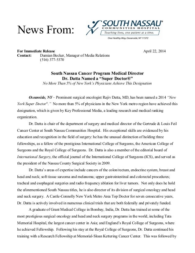 For Immediate Release April 22, 2014 Contact: Damian Becker, Manager of Media Relations (516) 377-5370 South Nassau Cancer...