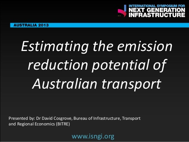ENDORSING PARTNERS  Estimating the emission reduction potential of Australian transport  The following are confirmed contr...