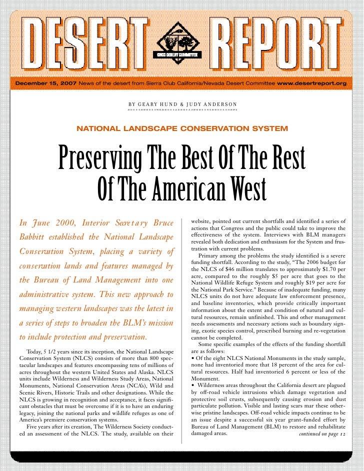 December 15, 2007 News of the desert from Sierra Club California/Nevada Desert Committee www.desertreport.org             ...