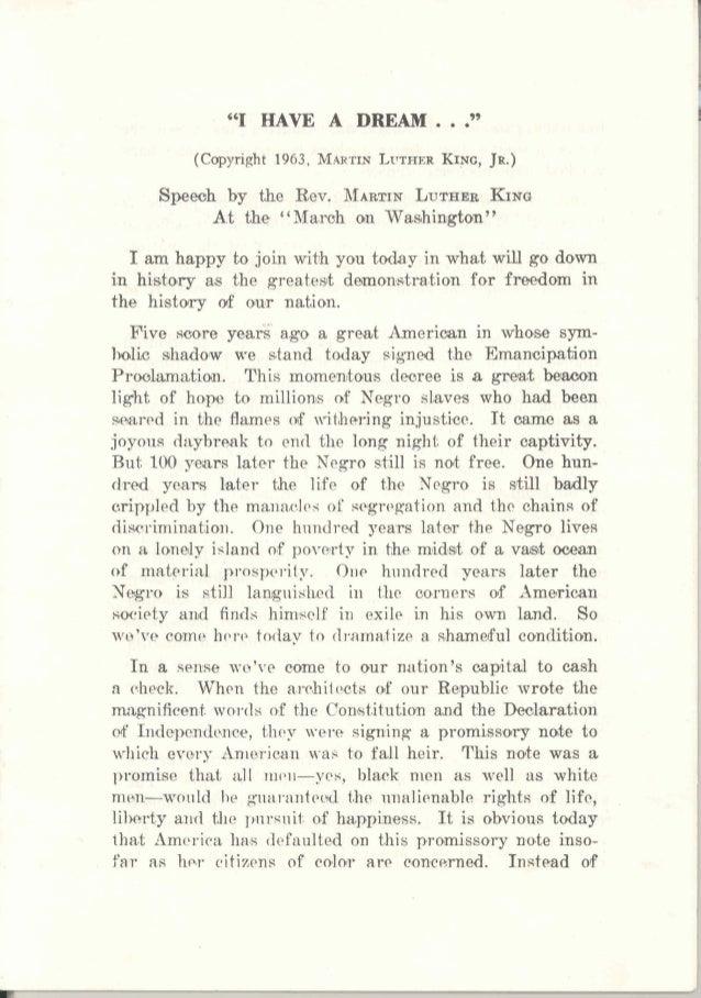 "'(1 HAVE A DREAM ..."" LVTFIERKING,(Copyright 1963, M.~RTIN JR.) Speeoh by the Rev. MAXTINLUTHEEKING At the ""Marah ~n Wa&hi..."