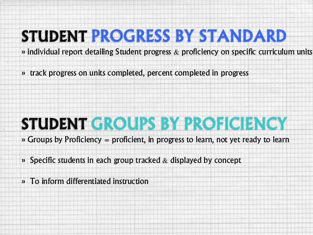 PROGRESS BY STANDARD » individual report detailing Student progress & proficiency on specific curriculum units » track pro...