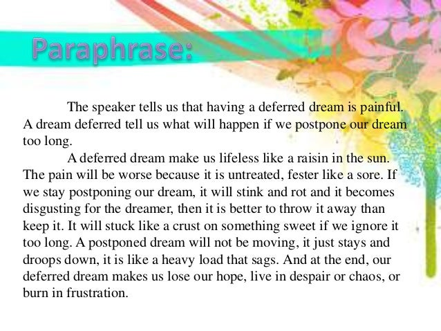 what happens to a dream deferred interpretation
