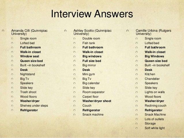 ... 4. Interview Answers Amanda Cilli (Quinnipiac University) Single Room  ... Part 34