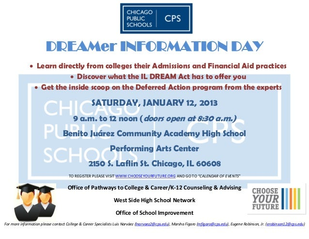 DREAMer INFORMATION DAY               Learn directly from colleges their Admissions and Financial Aid practices          ...